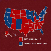 REPUBLICANS (RED STATES) - COMPLETE MORONS (BLUE STATES)